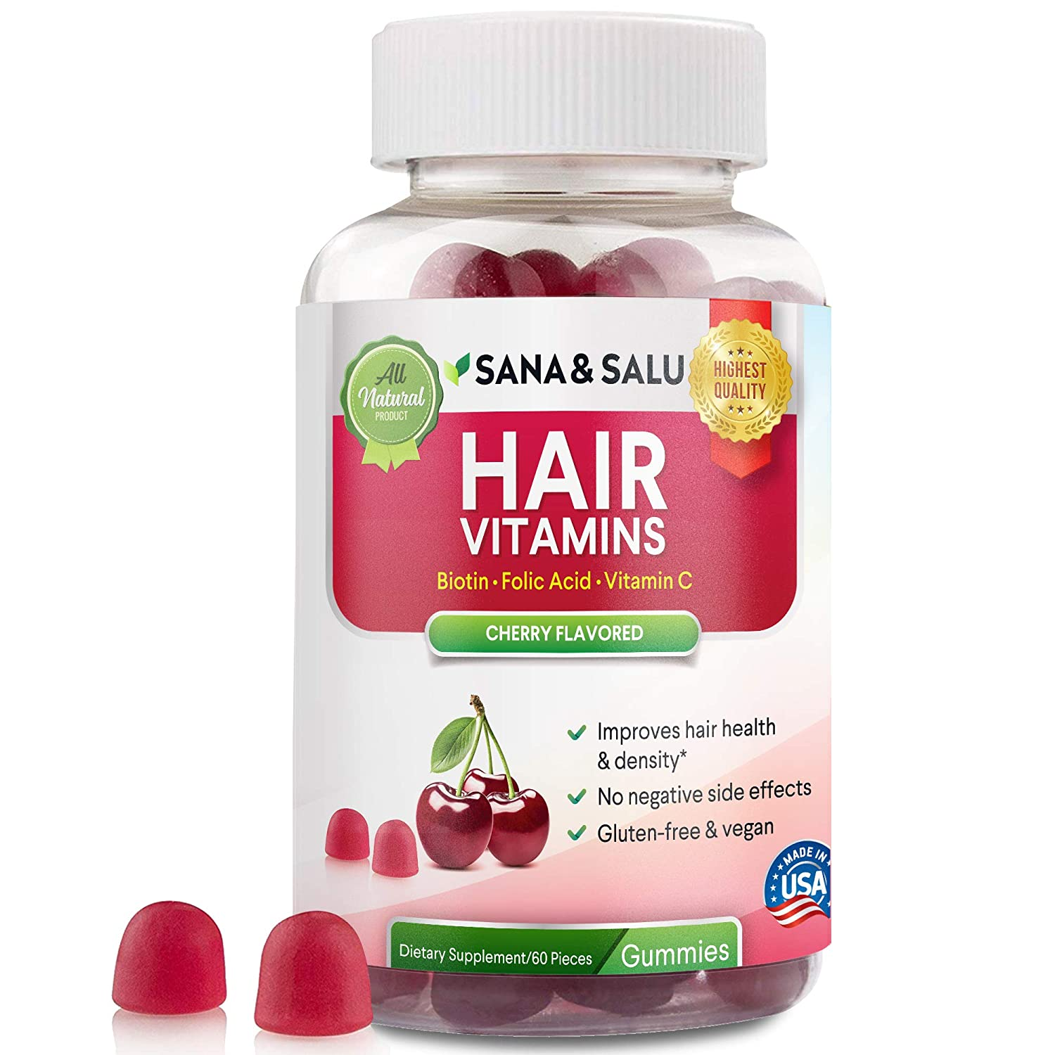 Hair Growth Vitamins >> Hair Growth Vitamins Gummies With Biotin Vegan Gluten Free Stronger Healthier Thicker Hair