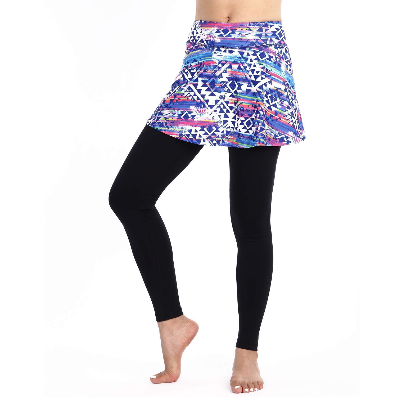 BEROY Skapri Jupe 2 en 1 Legging de Compression avec Jupette Convient pour Tennis, Yoga, Pilates, l'entraînement et Course à Pied pour Filles & Femmes