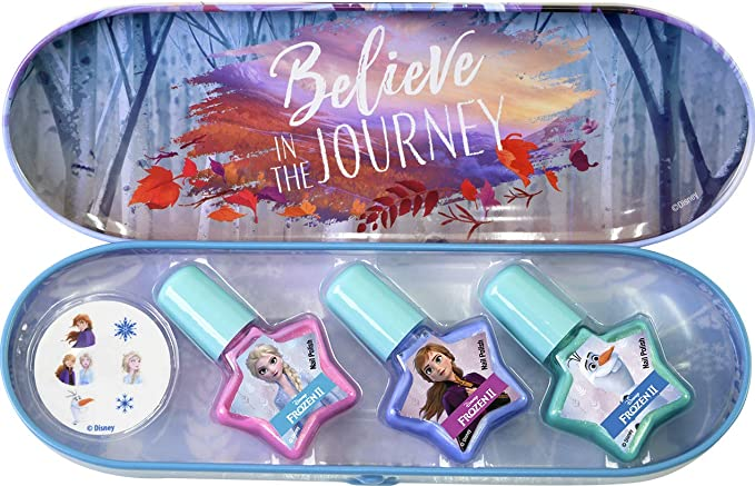 Frozen Nail Polish Tin - Estuche de Maquillaje de Uñas Frozen II para Niñas - Maquillaje Frozen - Estuche Maquillaje de Lata con Pegatinas para Uñas y Esmalte de Uñas: Amazon.es: Juguetes