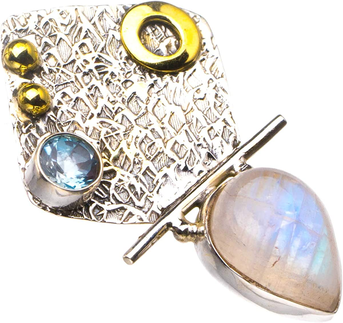 Natural Two Tones 18K Gold Plated Rainbow Moonstone And Blue Topaz Handmade 925 Sterling Silver Pendant 1.5 D2541