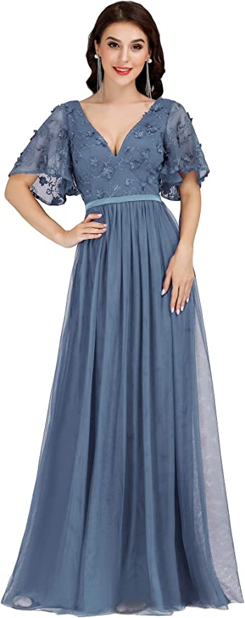 1930s Evening Dresses | Old Hollywood Silver Screen Dresses Ever-Pretty Womens Double V-Neck Embroidery Maxi Dress Long Bridesmaid Dress 0722 $42.99 AT vintagedancer.com