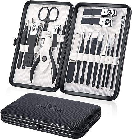 Profesional Cortaúñas Acero Inoxidable Grooming Kit - Set de 18 Piezas para Manicura y Pedicura Limpiador Cutícula con Bonita Caja (Negro): Amazon.es: Belleza