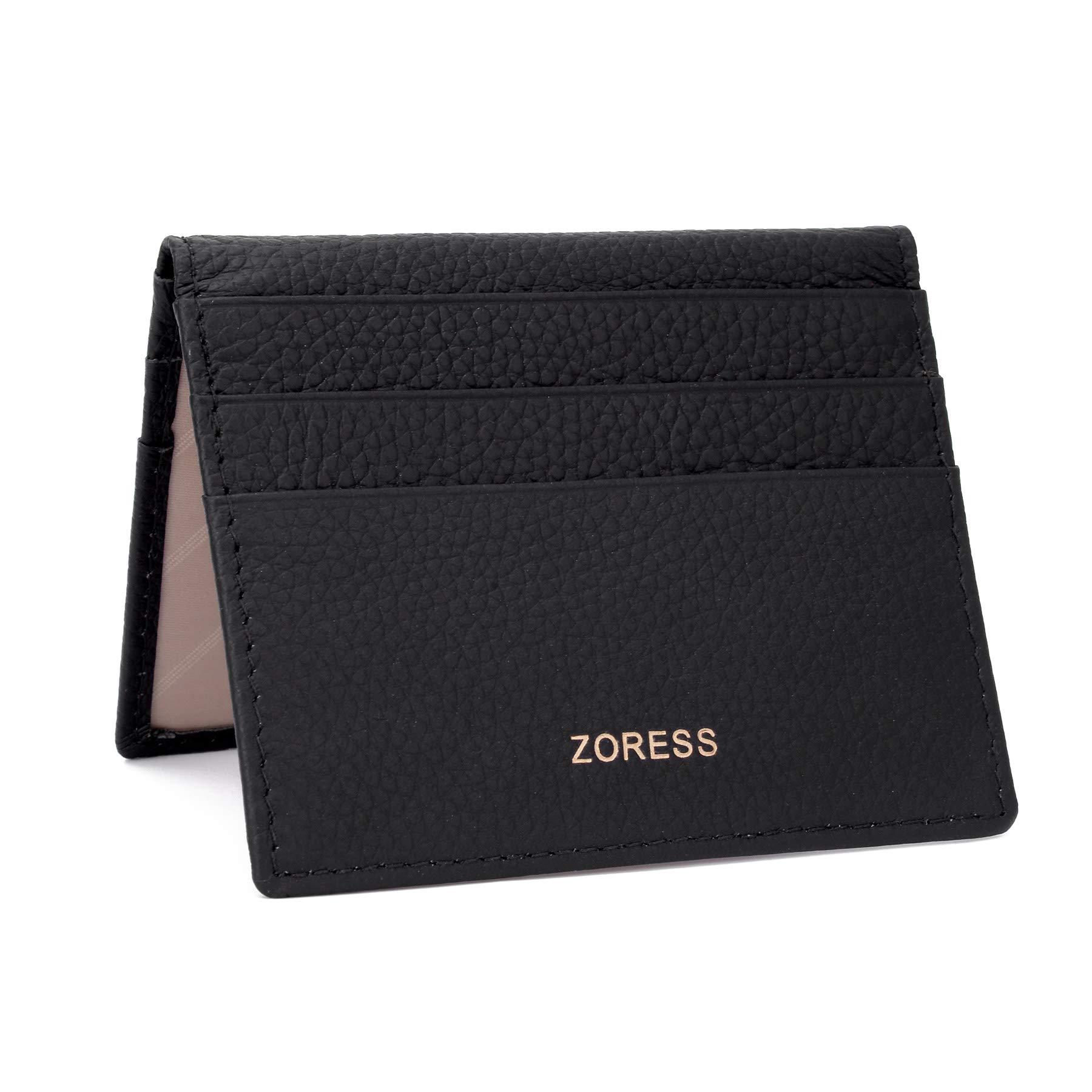 ZORESS Womens Leather RFID Blocking Slim Credit Card Case Holder Travel Front Pocket Wallet (Black)