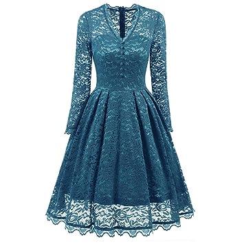 Sonnena - Vestido de encaje para mujer de manga larga y cuello en V - Estilo