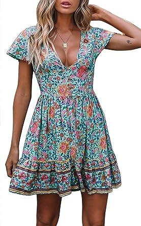 5db791e6fb7d1c ZESICA Women's Summer Bohemian Floral Printed Short Sleeve V Neck ...