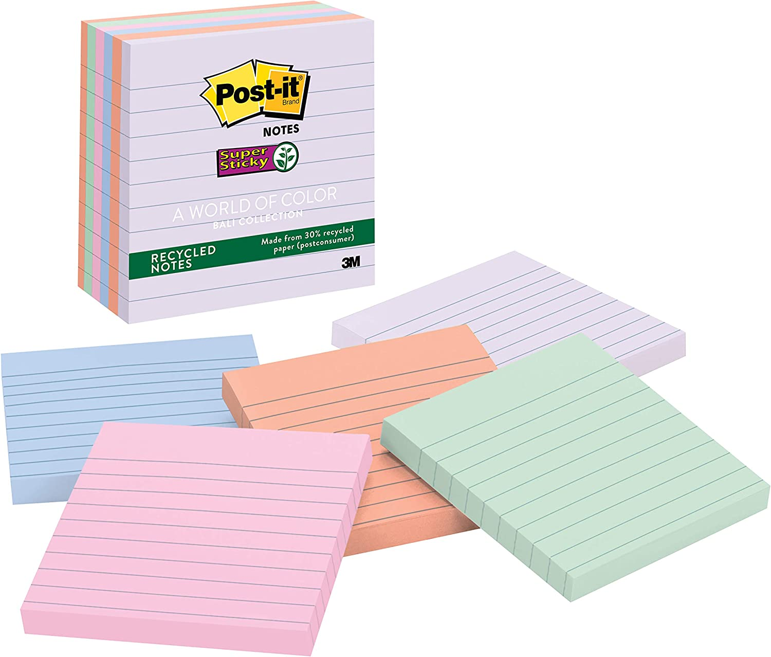Post-it Recycled Super Sticky Notes, 2x Sticking Power, 4 in x 4 in, Bali Collection, Lined, 6 Pads/Pack (675-6SSNRP)