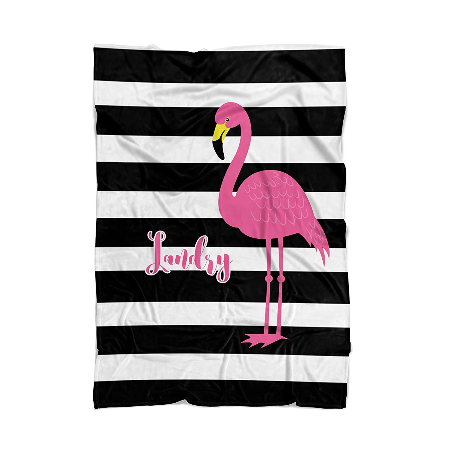 Pink Flamingo Blanket - Black Stripe Flamingo Personalized Name Blanket