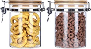 KKC Borosilicate Glass Storage Jars with Airtight Clamp Lids,Glass Airtight Food Storage Containers for Coffee Bean,Loose Tea,Ground Coffee Canister,Candy Jar with Bamboo Lis,Sealed Container