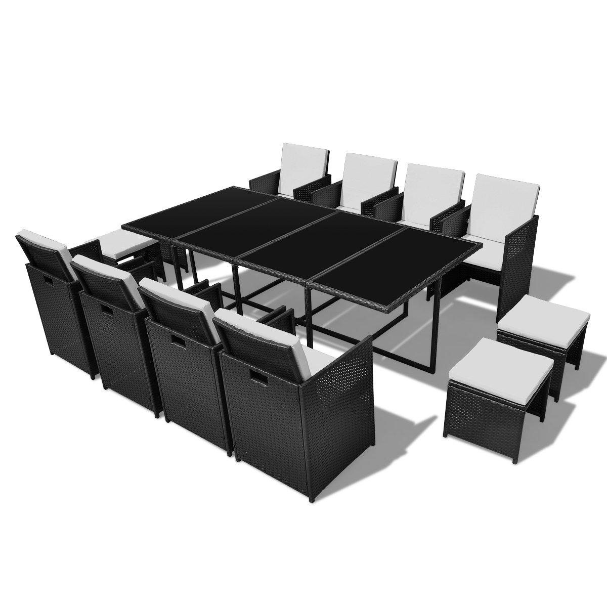 vidaXL Poly Rattan Gartenmöbel Essgruppe 1 Tisch + 8 Stühle 4 Hocker