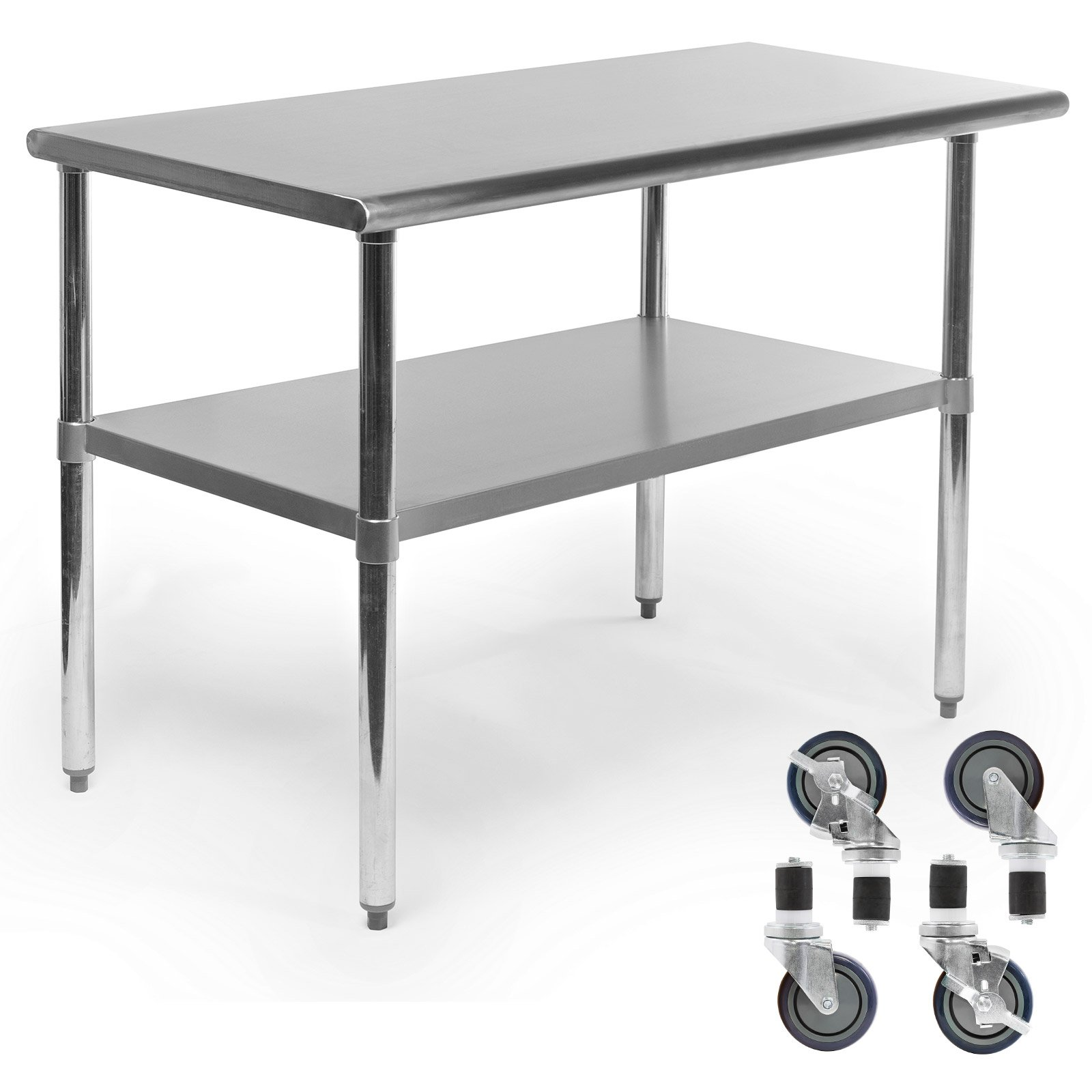 Gridmann NSF Stainless Steel Commercial Kitchen Prep & Work Table w/ 4 Casters (Wheels) - 48 in. x 24 in. by Gridmann (Image #1)