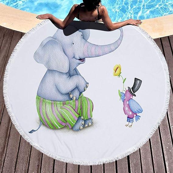 Fansu Toalla de Playa Redondo Elefante, Microfibra la Playa Tapiz de Pared Manta Toalla Yoga Acampar Picnic Mantel Decoración Viaje Esterilla Wall Hanging ...