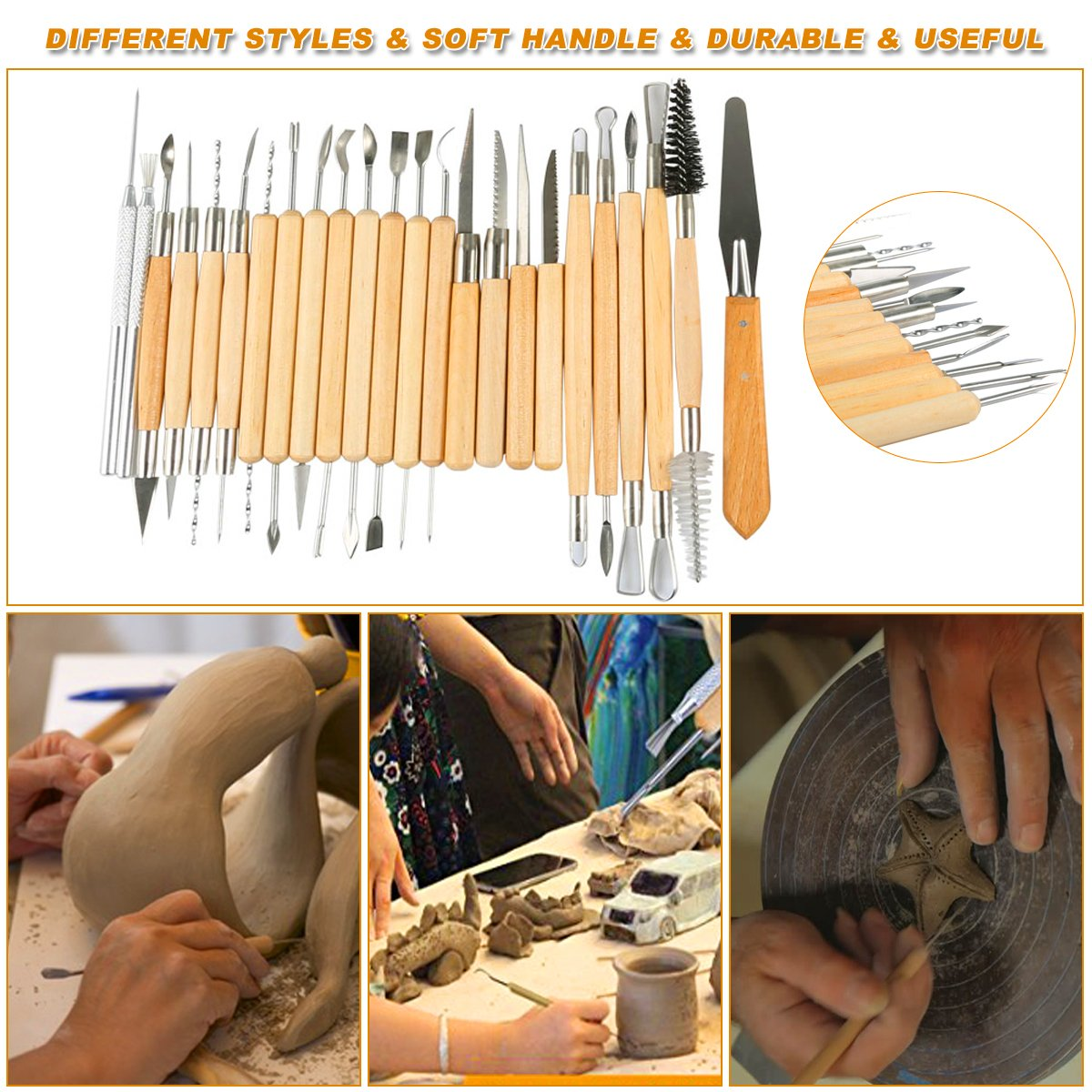 Hotab 45pcs Set Wooden Pottery & Clay Sculpting Tools with Plastic Case by Hotab (Image #5)