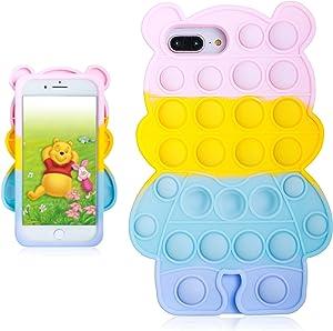 oqpa for iPhone 6 Plus/6S Plus/7 Plus/8 Plus Case Cartoon Kawaii Funny Cute Silicone Design Cover for Girls Kids Boys Teen,Fashion Cases Fidget Bubble Winnie(for iPhone 6 Plus/6S 6/7/8 Plus 5.5