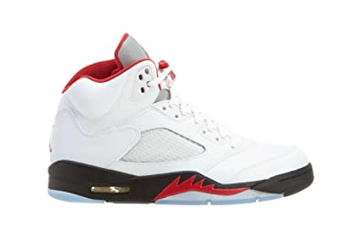 detailing b2ac6 33fb7 Amazon.com   Nike Mens Air Jordan 5 Retro Silver Tongue White Fire Red Blk  Leather Basketball Size 11   Basketball