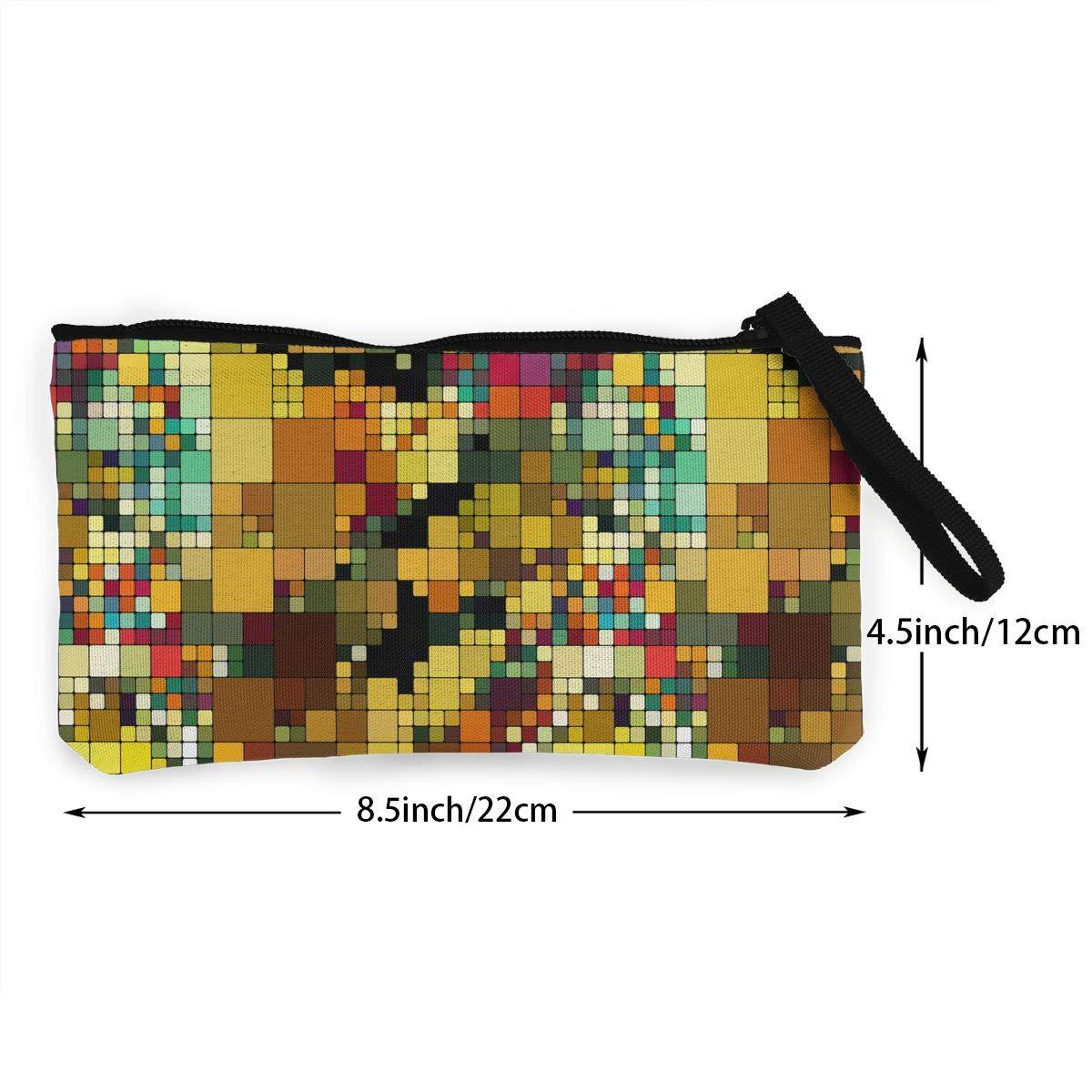 Bk55Oi/&/& Womens Retro Coin Purse Art Pattern Canvas Card Wallet with Zipper for Women