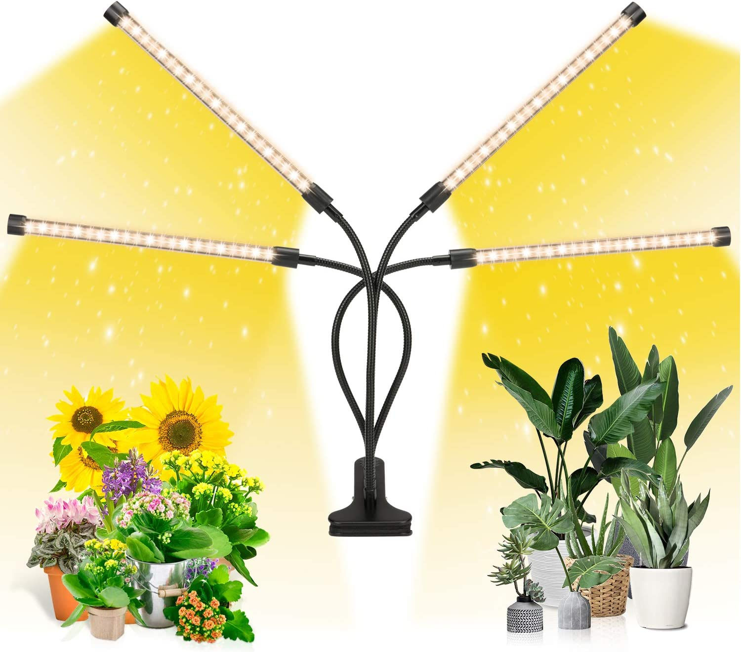 EZORKAS LED Growth Light,80W Four Head Timing,5 Dimmable Levels, Plant Grow Light for Indoor Plant with Full Spectrum,Adjustable Goosencck, 3、6/12H Timer, 3 Switch Modes: Home Improvement