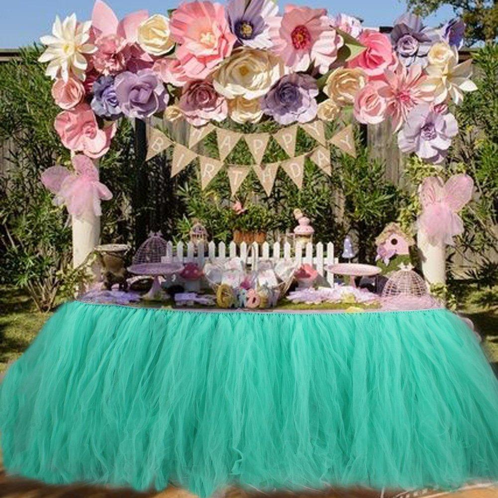 Aytai Tutu falda de mesa tul hecho a mano mantel para el banquete de boda Baby Shower cumpleaños niña princesa Party Supplies decoraciones 39.4 x31.5 (Aqua Blue)