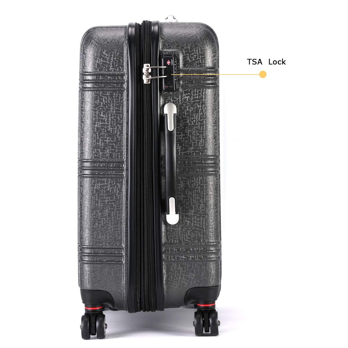 Expandable Spinner Luggage Set,TSA lightweight Hardside Luggage Sets, 20'' 24''28 inches Luggage (BLACK-1, 20 inches) by Travel Joy (Image #4)