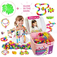 TS Yuniku Pop Beads For Kids 550 Pieces, DIY Jewelry Making Kit Arts And Craft for Girls Age 3, 4, 5,6,7,8 Glowing in the dark Beads, DIY Creativity Set Making Bracelet Necklace Ring Hairband Earrings