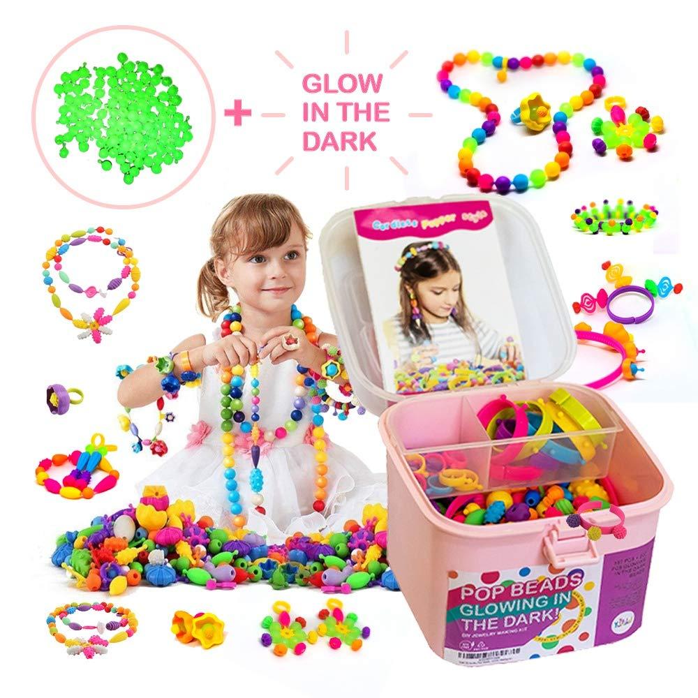 B07TS6LJM4 TS Yuniku Pop Beads For Kids 550 Pieces, DIY Jewelry Making Kit Arts And Craft for Girls Age 3, 4, 5,6,7,8 Glowing in the dark Beads, DIY Creativity Set Making Bracelet Necklace Ring Hairband Earrings 71RjZMU6N7L