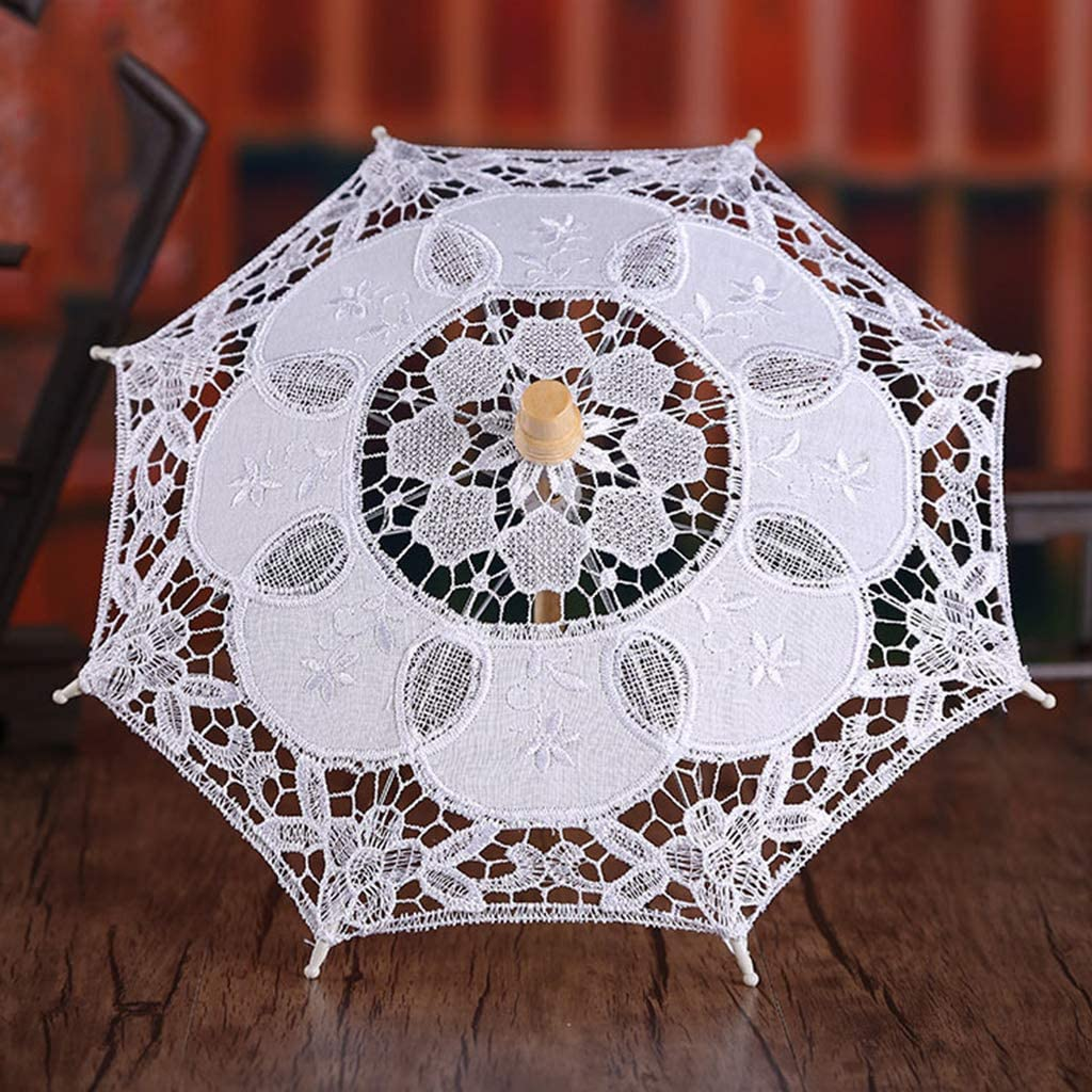 ruierty Womens Manual Opening Wedding Bridal Parasol Umbrella Hollow Out Embroidery Lace Solid White Color Romantic Photo Props With Wood Handle 8 Ribs 1#