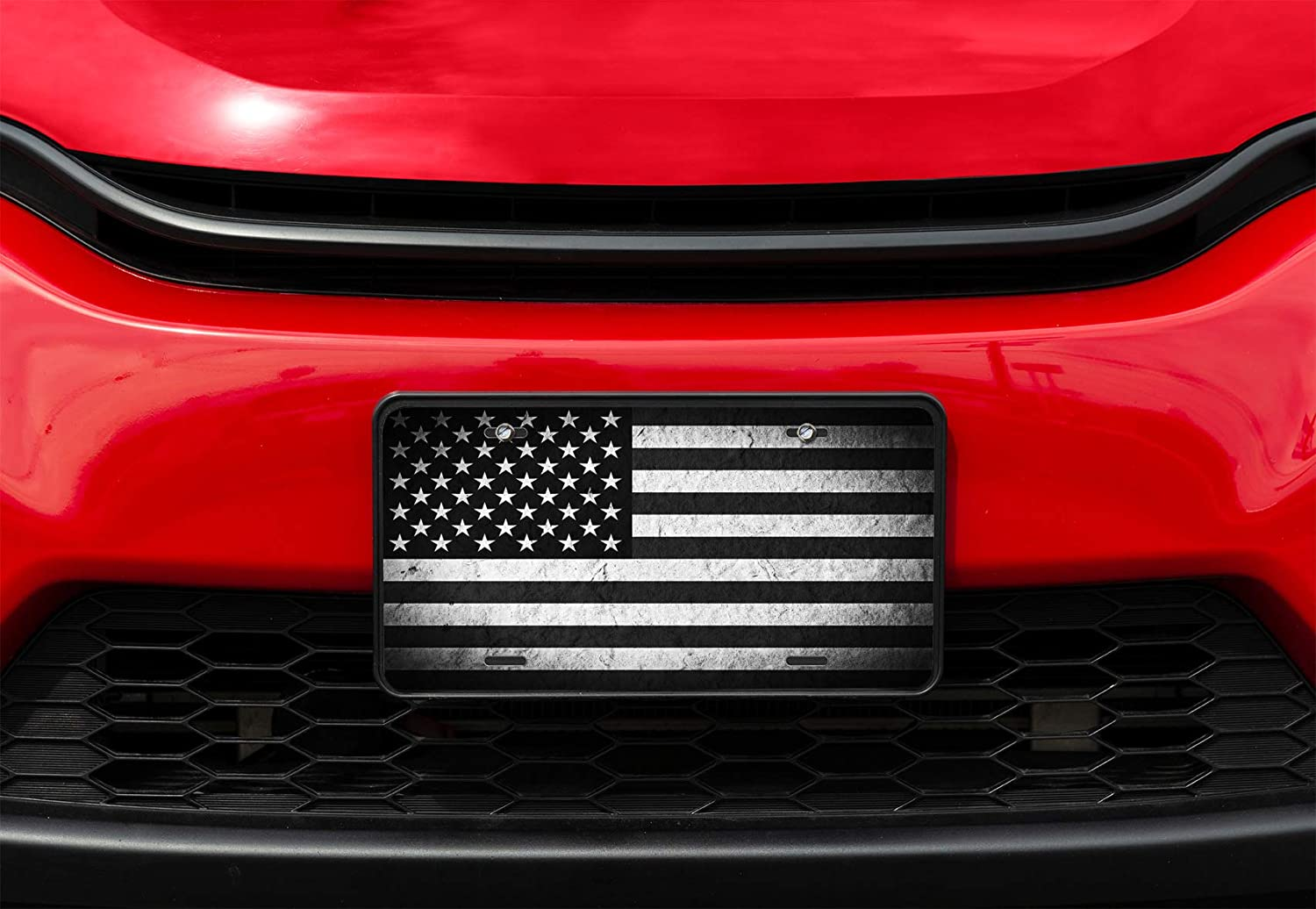 4 Holes Amcove License Plate Vintage Grunge American Flag Decorative Car Front License Plate,Vanity Tag,Metal Car Plate,Aluminum Novelty License Plate,6 X 12 Inch
