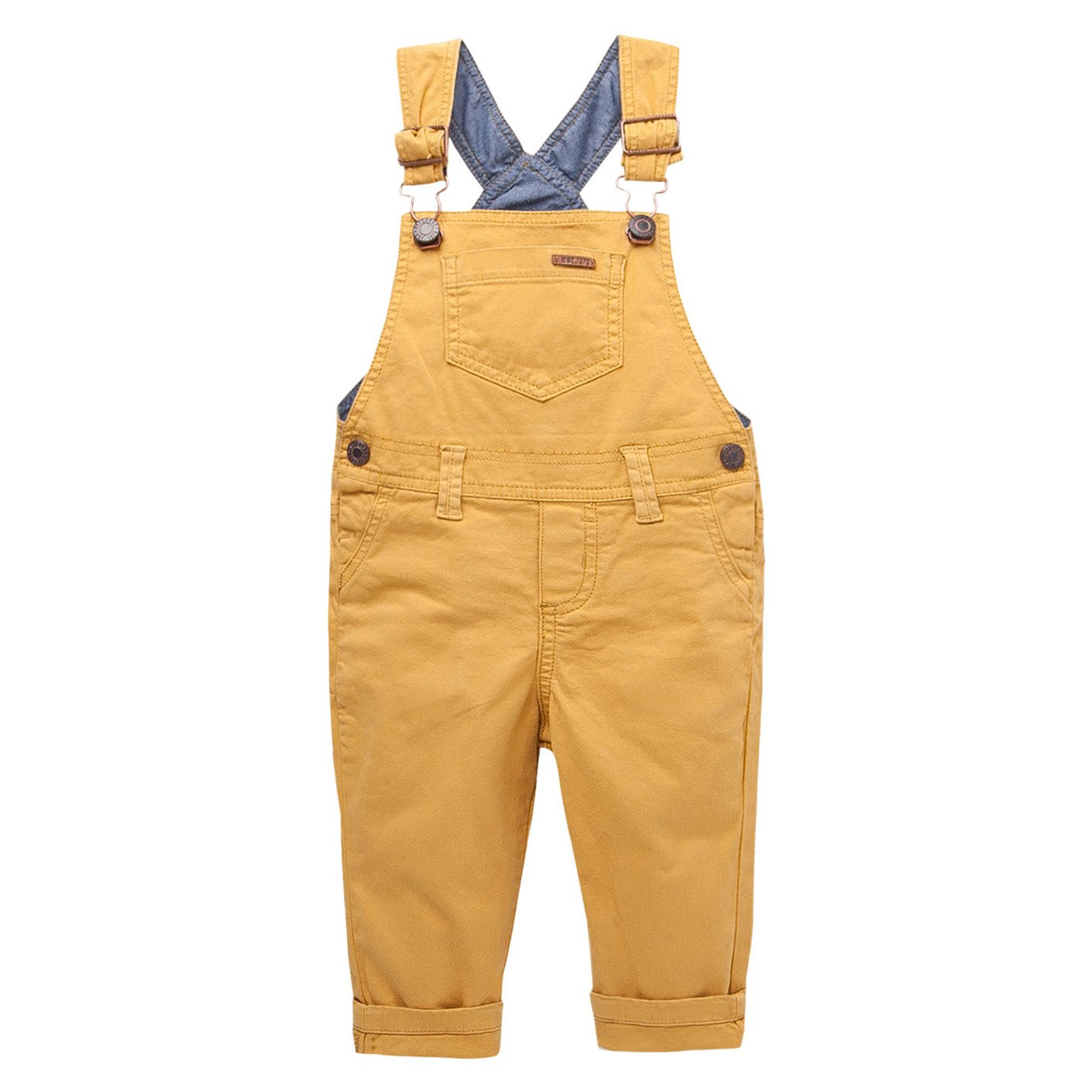 OFFCORSS Toddler Boy Kid Infant Bib Matching Brother Twin Jean Denim Cotton Cute Long Overalls Dungarees with Hooks Outfit Overol para Niños Yellow 3T