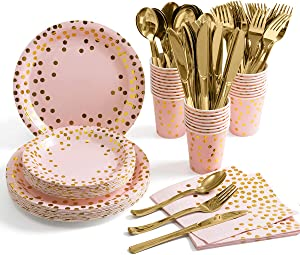 Pink and Gold Party Supplies – Disposable Dinnerware Set Serves 25 Gold Dots on Pink Paper Plates Cups and Napkins, Gold Plastic Knives Spoons Forks for Baby Shower Wedding Party Bridal Shower
