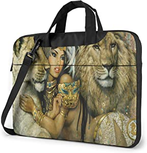 Portable Laptop Sleeve with Handle MacBook 13/14/15 Inch Tablet Carrying Case Cases African Woman Egypt Queen and Lion Neoprene Waterproof Compatible Notebook Computer Bag with Shoulder & Back Belt
