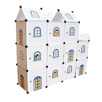 Niños Castillo de almacenamiento - Estantería infantil Cajas Armario niños Cajas para juguetes Biblioteca del organizador del hogar - Castillo Cubos 11 ...