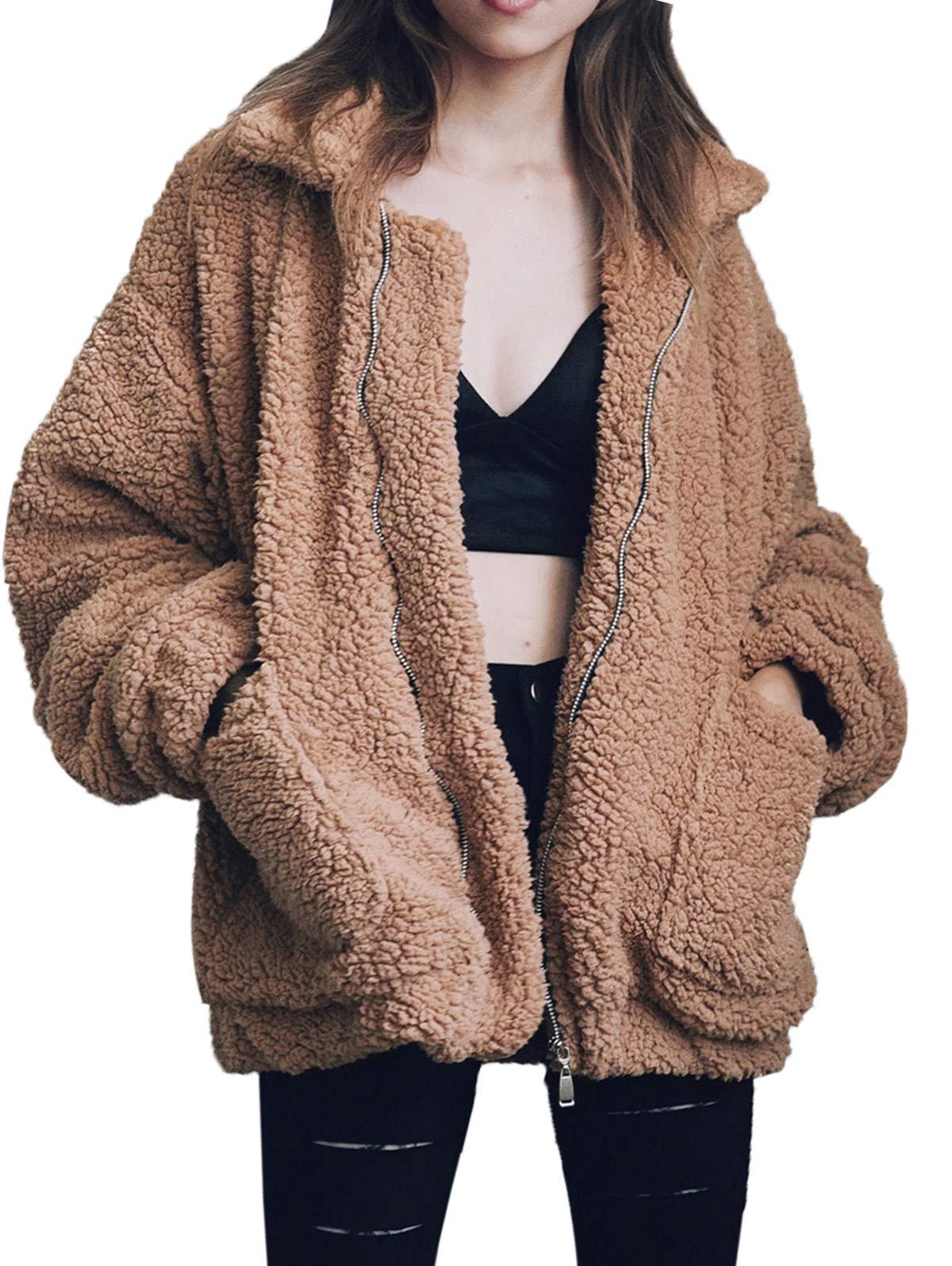 Gzbinz Women's Casual Warm Faux Shearling Coat Jacket Autumn Winter Long Sleeve Lapel Fluffy Fur Outwear Camel S