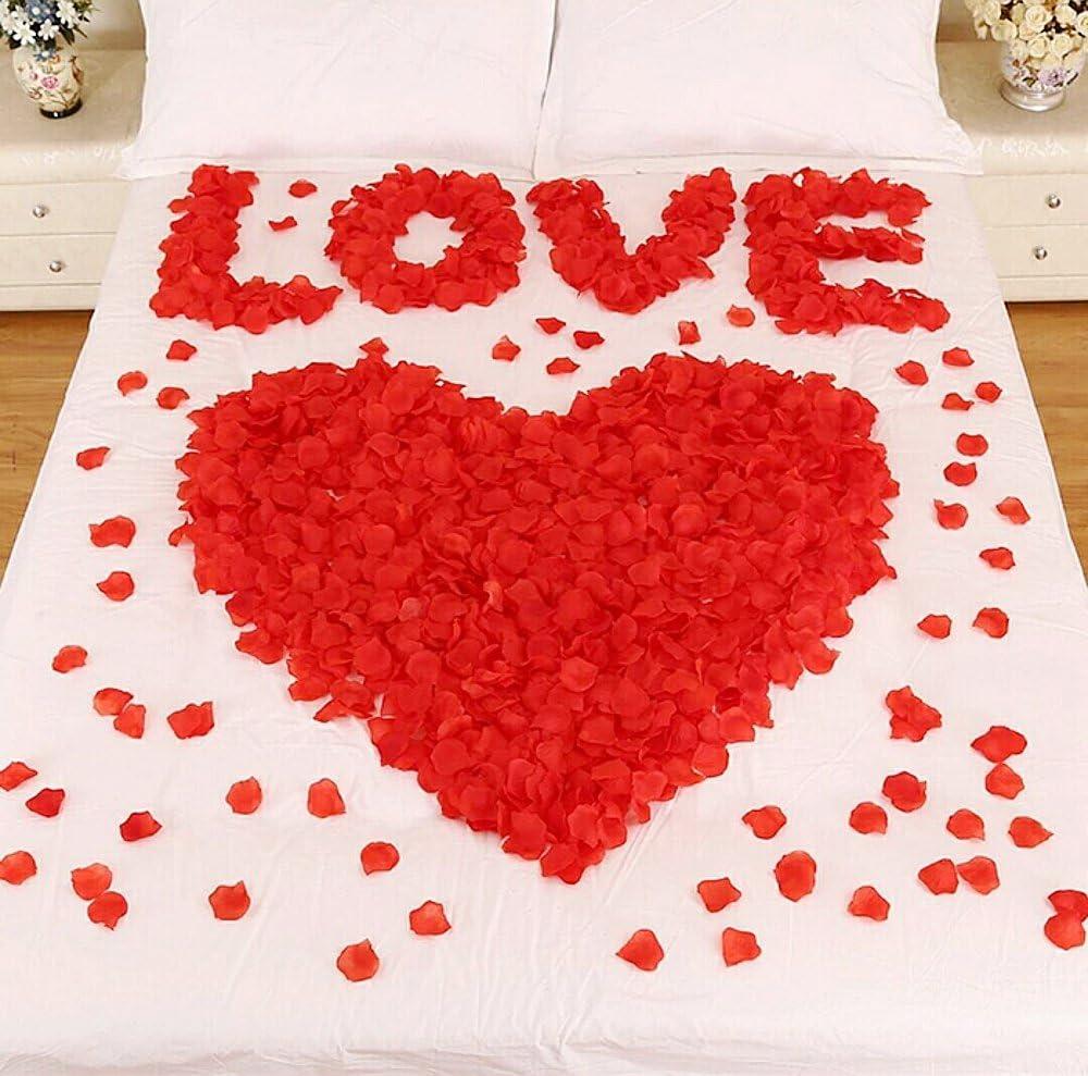 CHSYOO 1000 x Hojas Artificiales Rosas Flores Confeti, Decoración Accesorios para Bodas Fiesta Cumpleaños San Valentín, Rojo