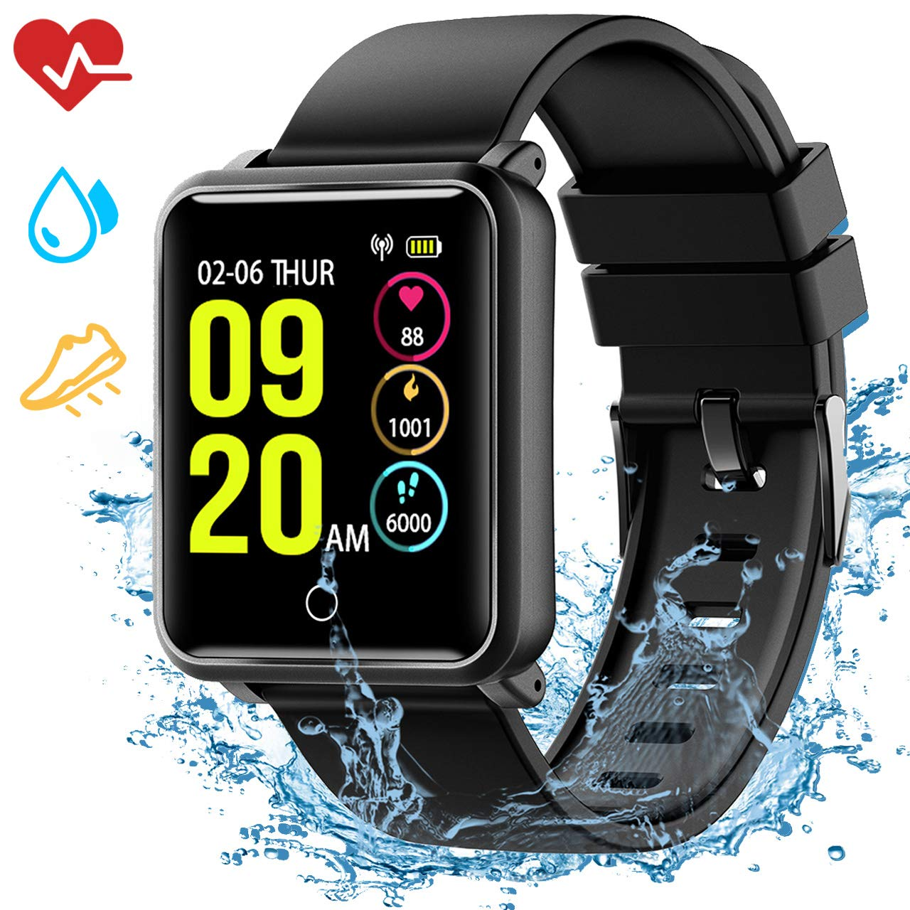Smartwatch IP68, Reloj Inteligente Hombre con 8 Modos Deporte, Reloj Deportivo, Monitor de sueño, Pulsómetro, Podómetro, Caloría, Notificación Llamada ...