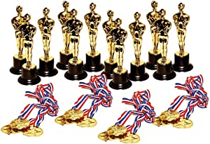 Dazzling Toys Set of 12 Golden Plastic Award Figure Trophies and 12 Medal Necklaces
