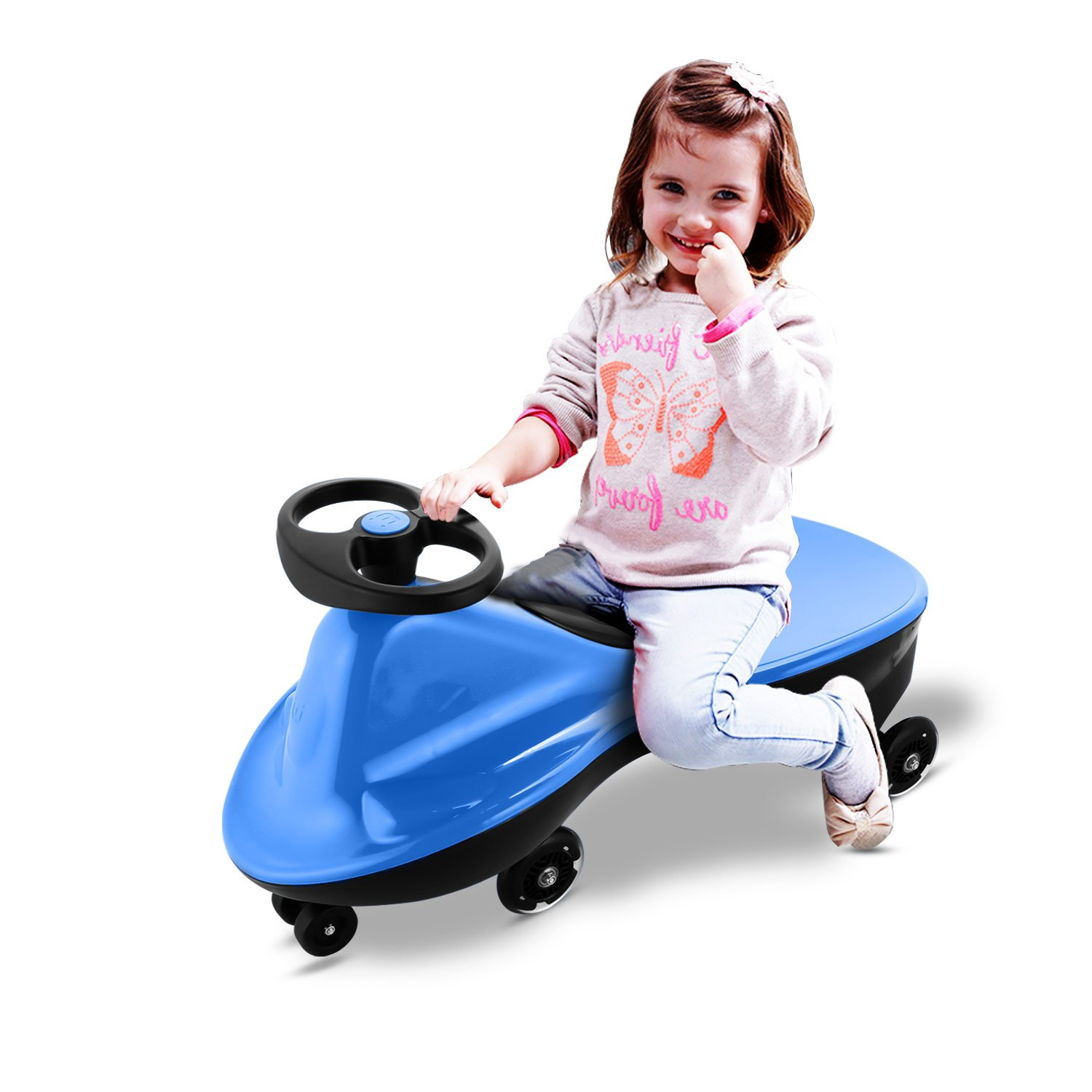 Smibie Swing Wiggle Car Plasma Cars Ride On No Setup Required LED flash wheels No batteries Twist Go Kids Child Girls and Boys Car Toy【US stock】