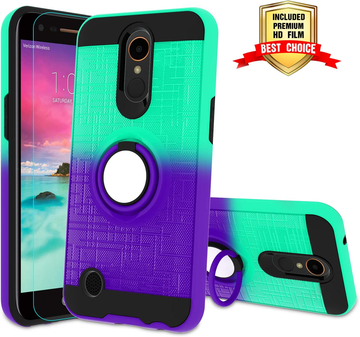 LG K20 Plus Case,LG K20 V, LG K10 2017, LG Harmony, LG Grace Phone Case with HD Screen Protector,Atump 360 Degree Rotating Ring Holder Kickstand Bracket Cover Phone Case for LG LV5 Mint/Purple