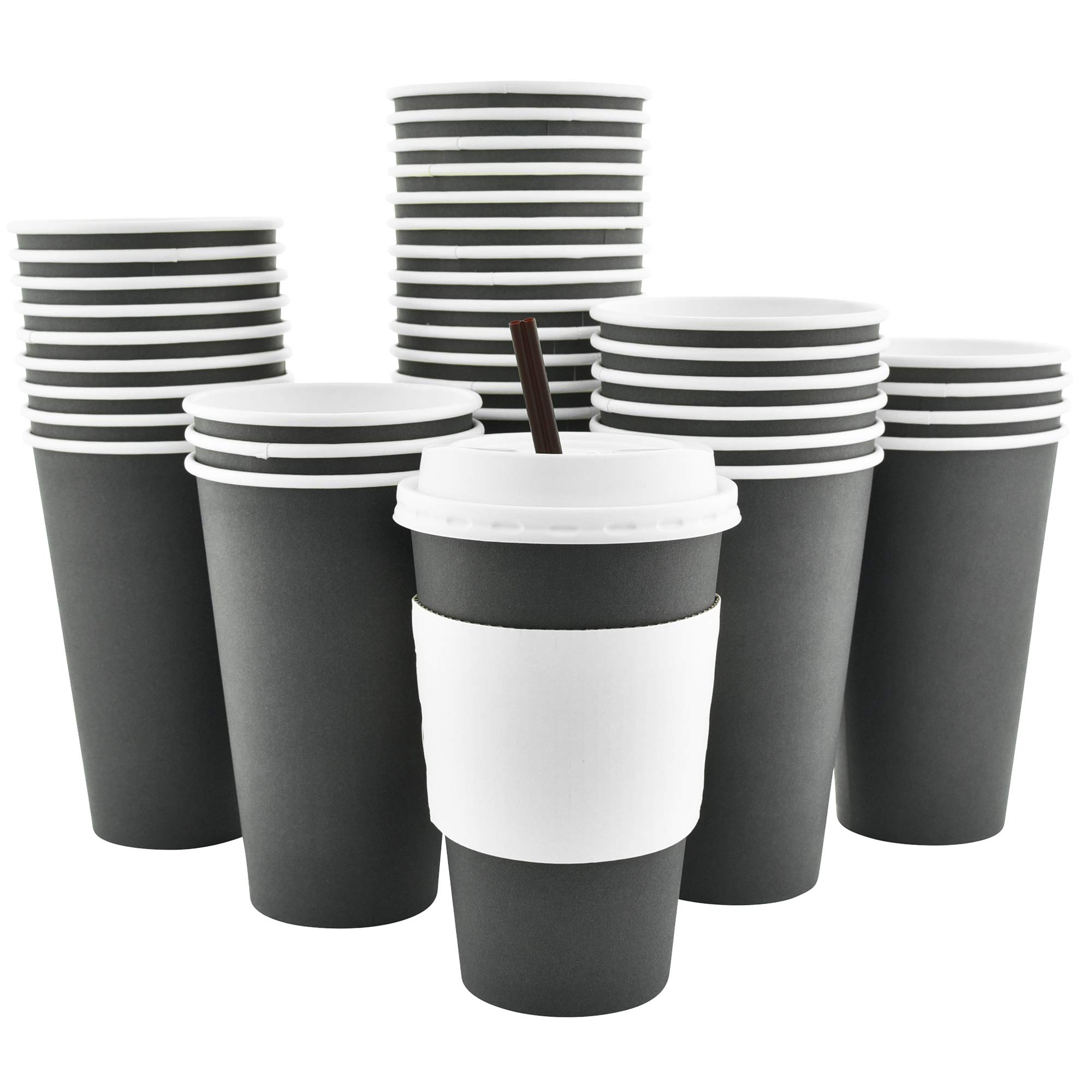 100 Pack - 16 Oz [12 Oz] [4 Colors] Disposable Hot Paper Coffee Cups, Lids, Sleeves, Stirring Straws - Slate Gray