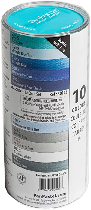 PanPastel 30103 Ultra Soft Artist Pastel 10 Color Seascape Set w/Sofft Tools