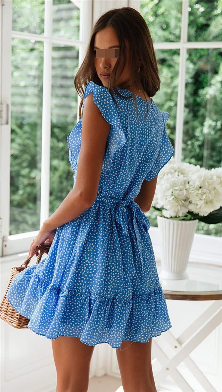 Dress ruffled stitching irregular polka dot print skirt 4 sizes Dress Size : M