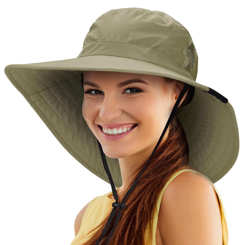 Tirrinia Unisex Sun Hat Fishing Boonie Cap Wide Brim Safari Hat with Adjustable Drawstring for Women Kids Outdoor Hiking Hunting Boating Desert Hawaiian by, Olive
