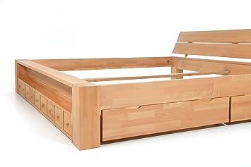 Alaska Doppelbett Buche Massiv Mit Schubladen 200x200 Handarbeit