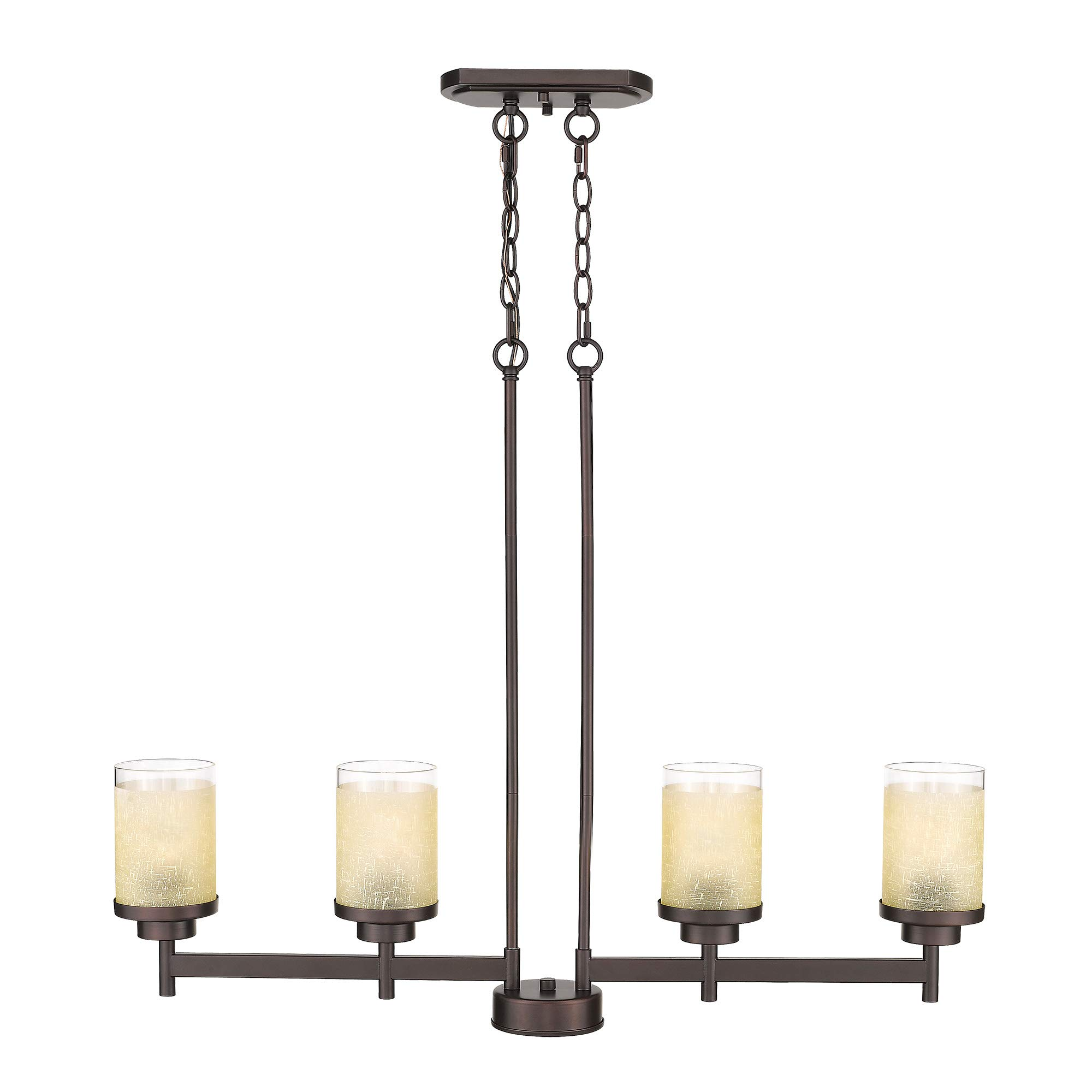 Jazava 4-Light Kitchen Island Lighting, Industrial Linear Pendant Light Fixture, Modern Farmhouse Chandelier, Oil Rubbed Bronze with Yellow Linen Frosted Glass Shade