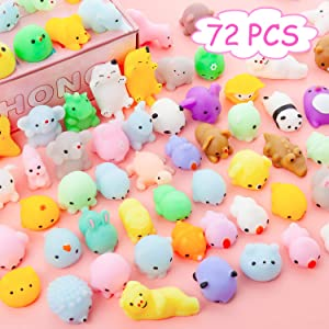 YIHONG 72 Pcs Kawaii Squishies, Mochi Squishy Toys for Kids Party Favors,Mini Stress Relief Toys for Birthday Gift,Classroom Prize,Goodie Bag