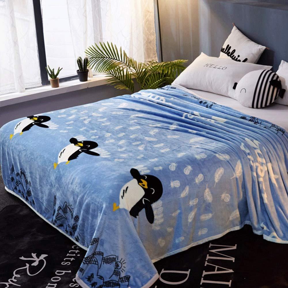 HKJhk 冬の毛布キルト肥厚暖かい毛布パッドフランジプラスベルベットサンゴフリースシングルピースシングルパーソン (パターン : Penguin blue, サイズ さいず : 230*250cm) B07P5RZLG6