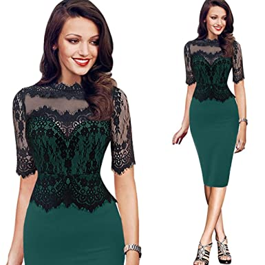 d221e527b Women Vintage Midi Bodycon Dress Lace Stitching Business Evening Party  Dresses (S, Green)