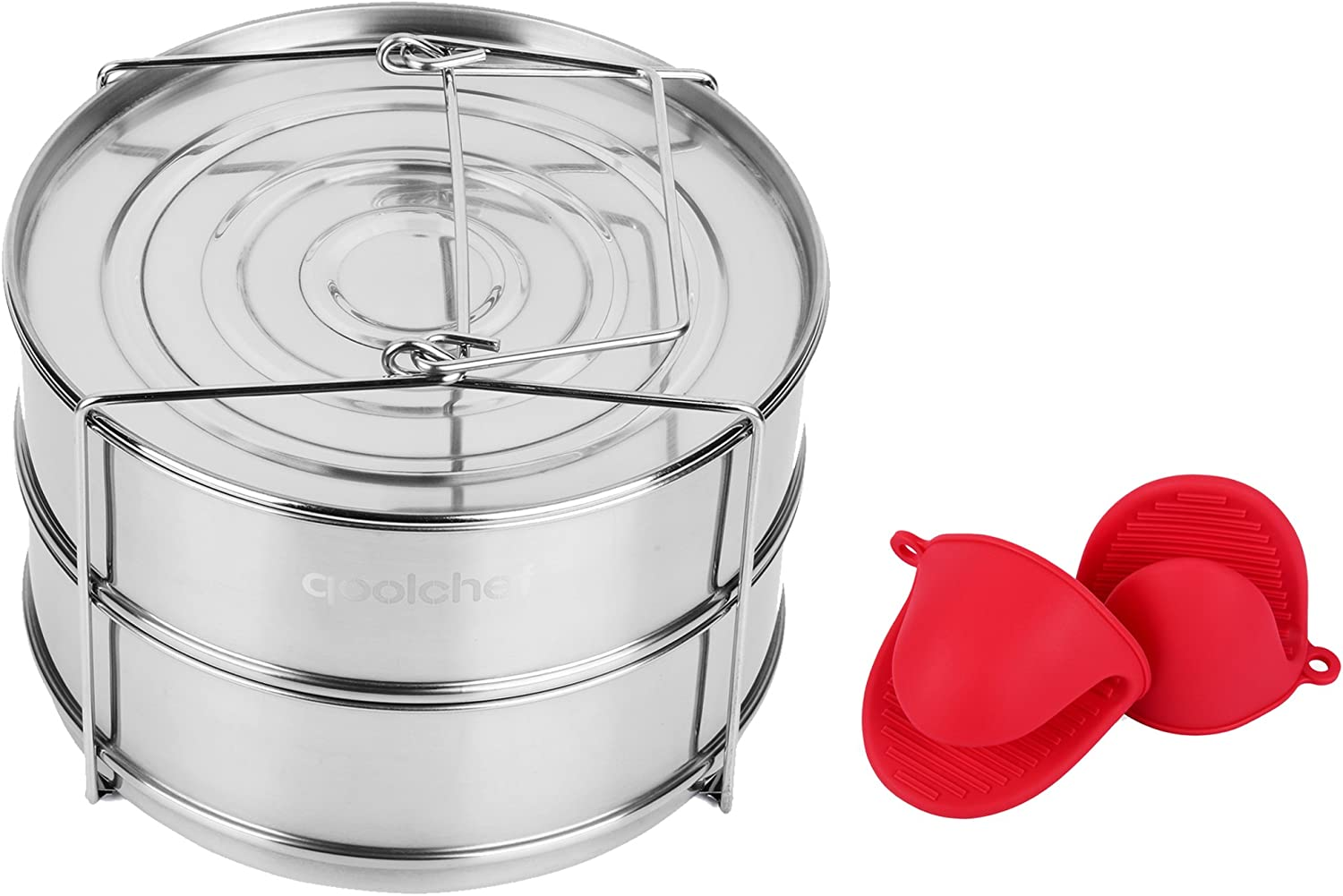 QoolChef Stackable Stainless Steel Pressure Cooker Steamer Insert Pans – Compatible with Pot Accessories 5, 6, 8 qt – Steaming, Baking, Reheating, Lasagna Pans – Bonus Pair of Silicone Oven Mini Mitts