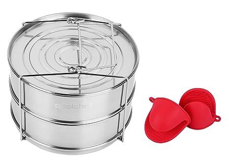 qoolchef apilable olla a presión de acero inoxidable Vapor Insertar sartenes – Instant Pot Maceta Accesorios