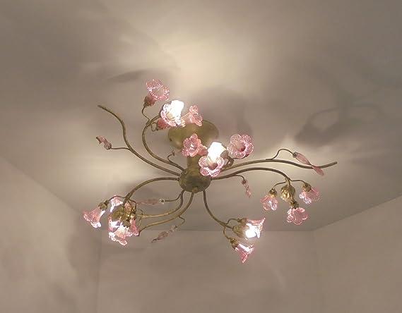 Plafoniera Fiori Murano : Plafoniera lampadario classico illuminazione interni salone camera