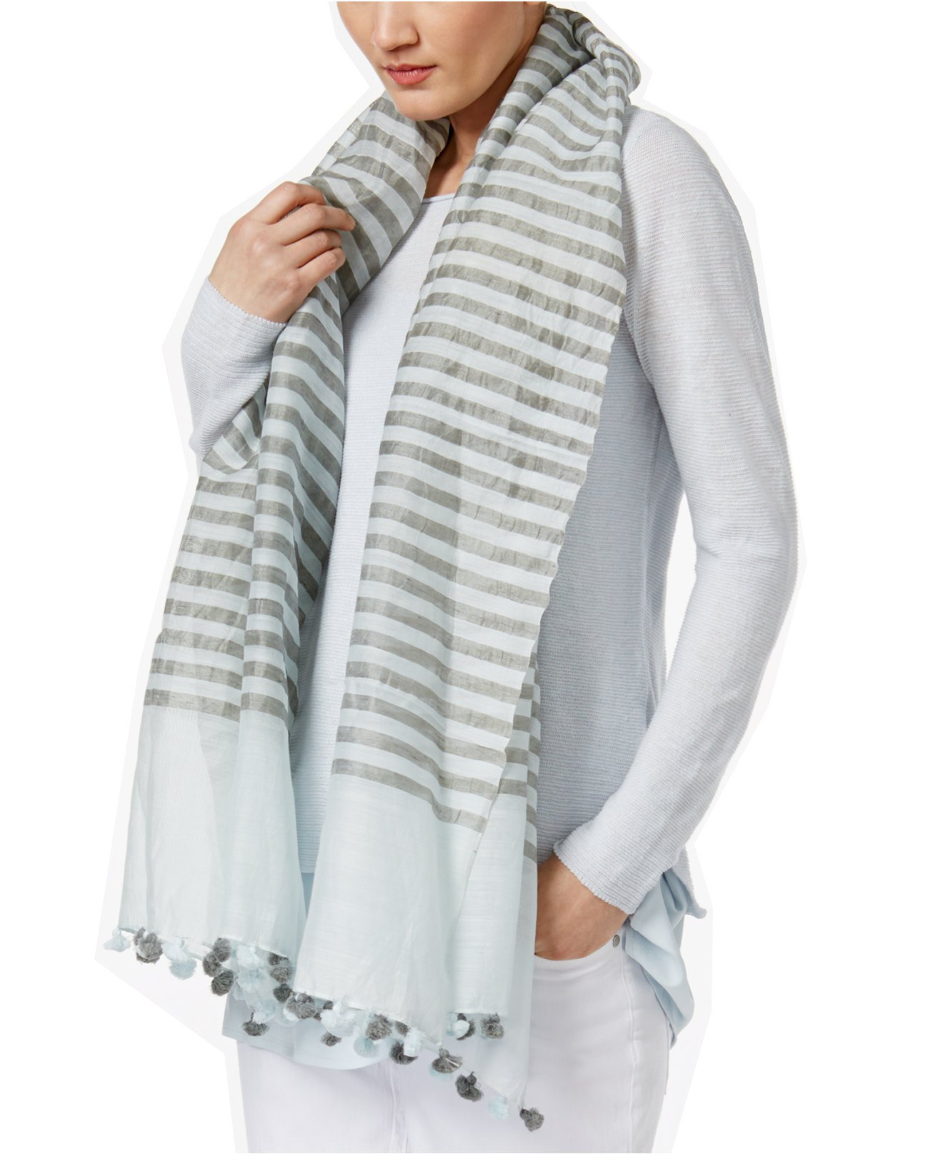 Eileen Fisher Women's Handloomed Woven Organic Cotton, Silk, and Linen Striped Wrap Scarp (Rain, One Size) by Eileen Fisher