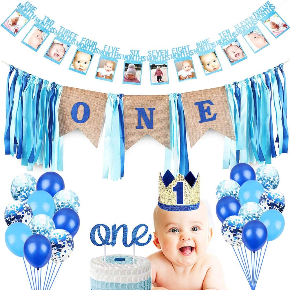 Cake Smash Party Supplies No.1 Silver and Blue Crown Happy Birthday ONE Burlap Banner Baby 1st Birthday Boy Decorations with Crown Baby Boy First Birthday Decorations High Chair Banner